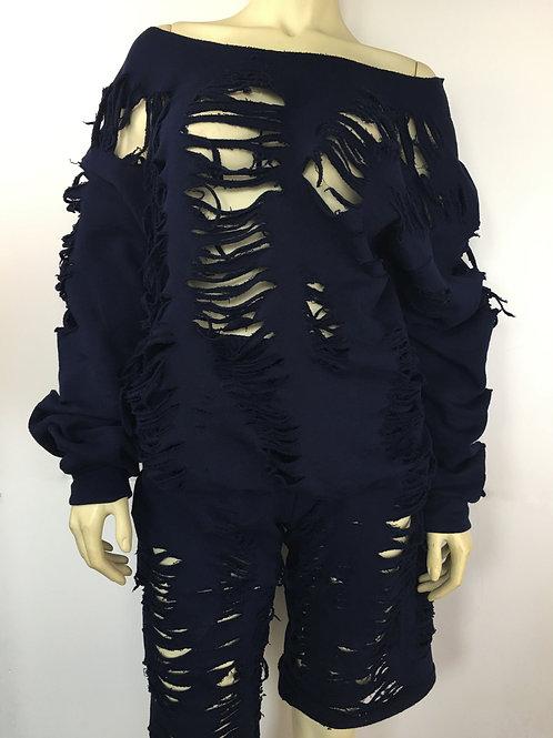 Grunge Sweater Set - Black