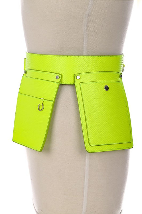 Neon Yellow Double Pouch Belt