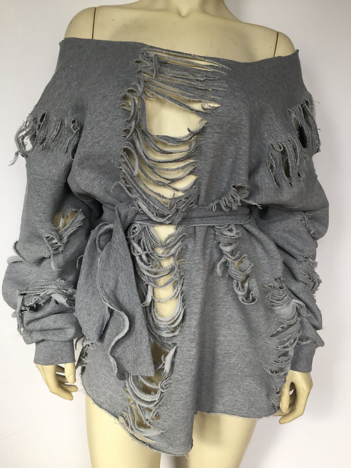 Custom Belted Distressed Sweater/Dress - Grey