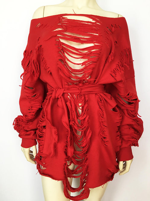 Custom Belted Distressed Sweater/Dress - Red