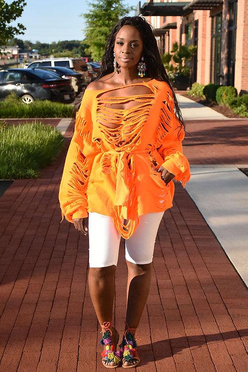 Custom Belted Distressed Sweater/Dress - Neon Orange