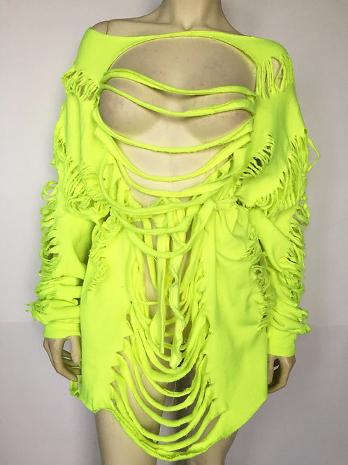 Custom Belted Distressed Sweater/Dress - Neon