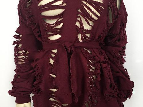 Burgundy Belted Distressed Dress/Sweatshirt