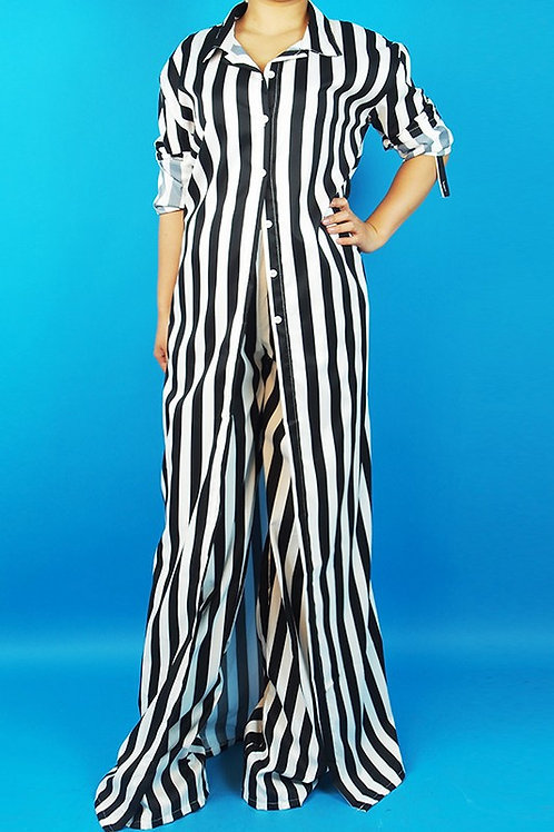 Maxi Shirt and Wide Leg Pants Set