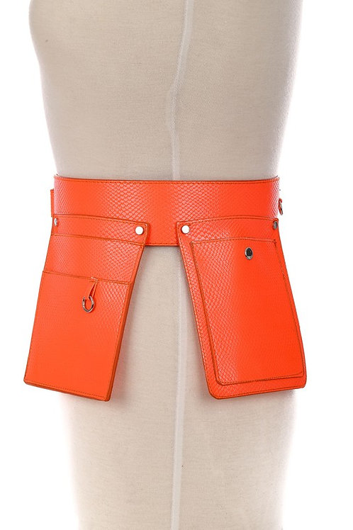 Neon Orange Double Pouch Belt