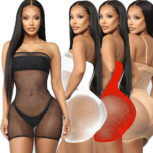 Sexy Lingerie Women Erotic Mini Dress Sequin Mesh Fishnet Bodystockings