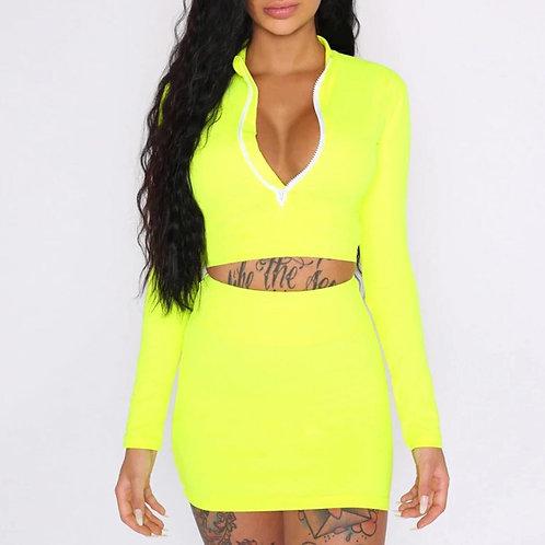 Lov3 Bold Yellow Long Sleeve Body Con