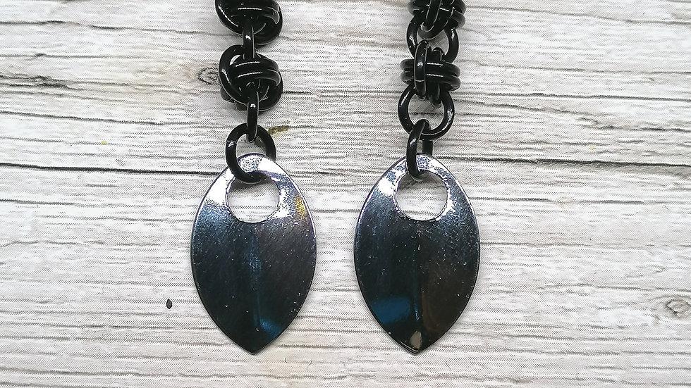 Barrel and scale earrings