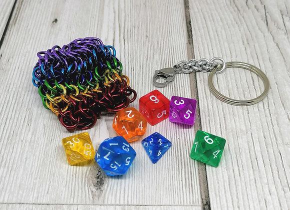 Mini dice bag keychain