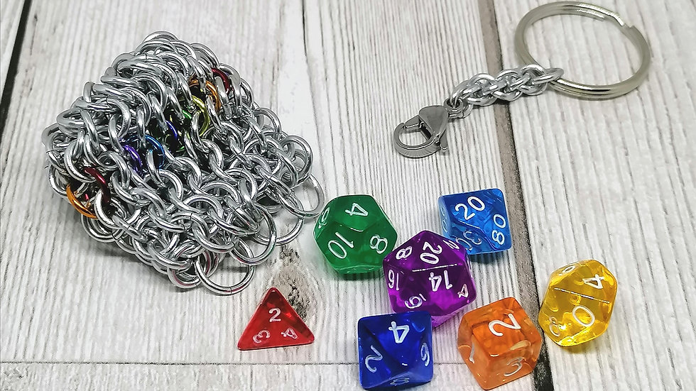 Mini dice bag keychain