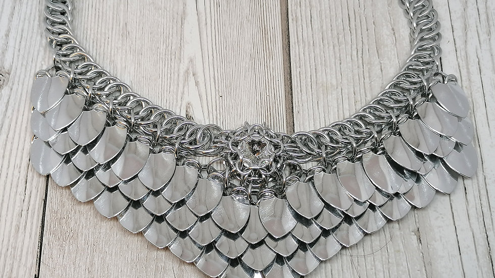 Scalemaille Goddess and crystal necklace