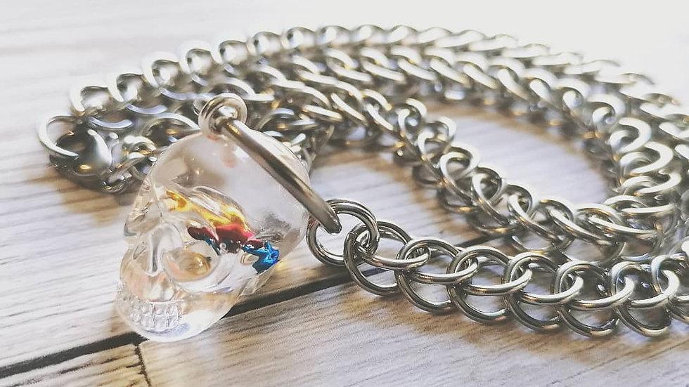 Half persian  choker and skull pendant