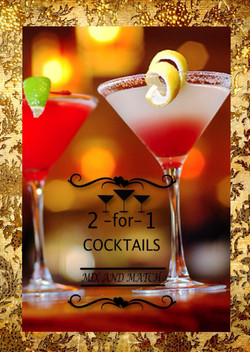 All cocktails 2 for 1