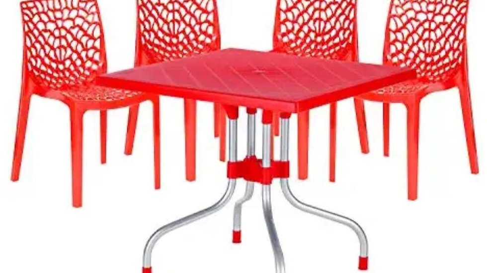 Supreme Web Set Of 4 Chairs And 1 Olive Table (Red)