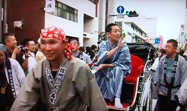 中村勘九郎さんと人力車