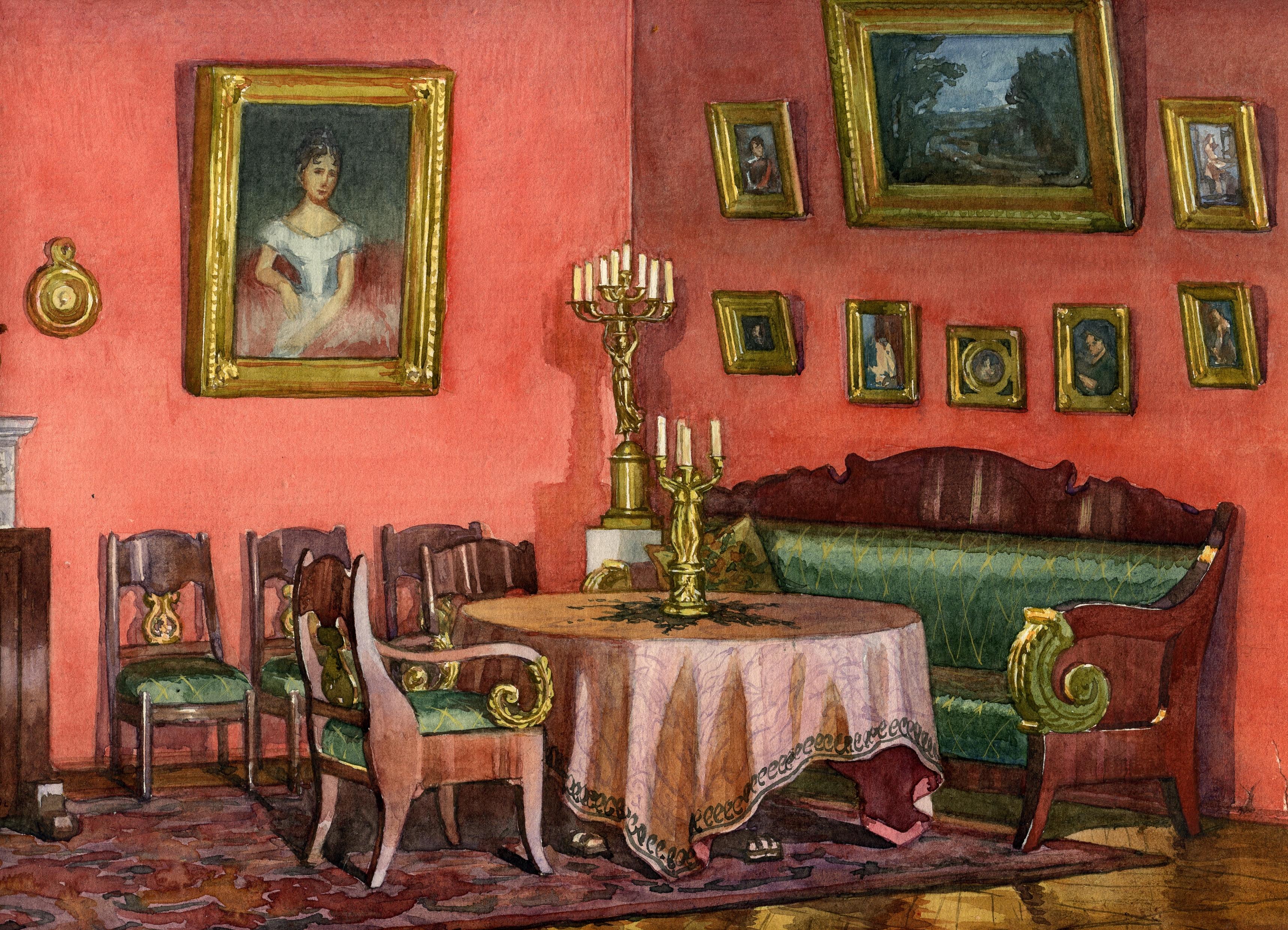 Красная гостиная. 1830-е гг.