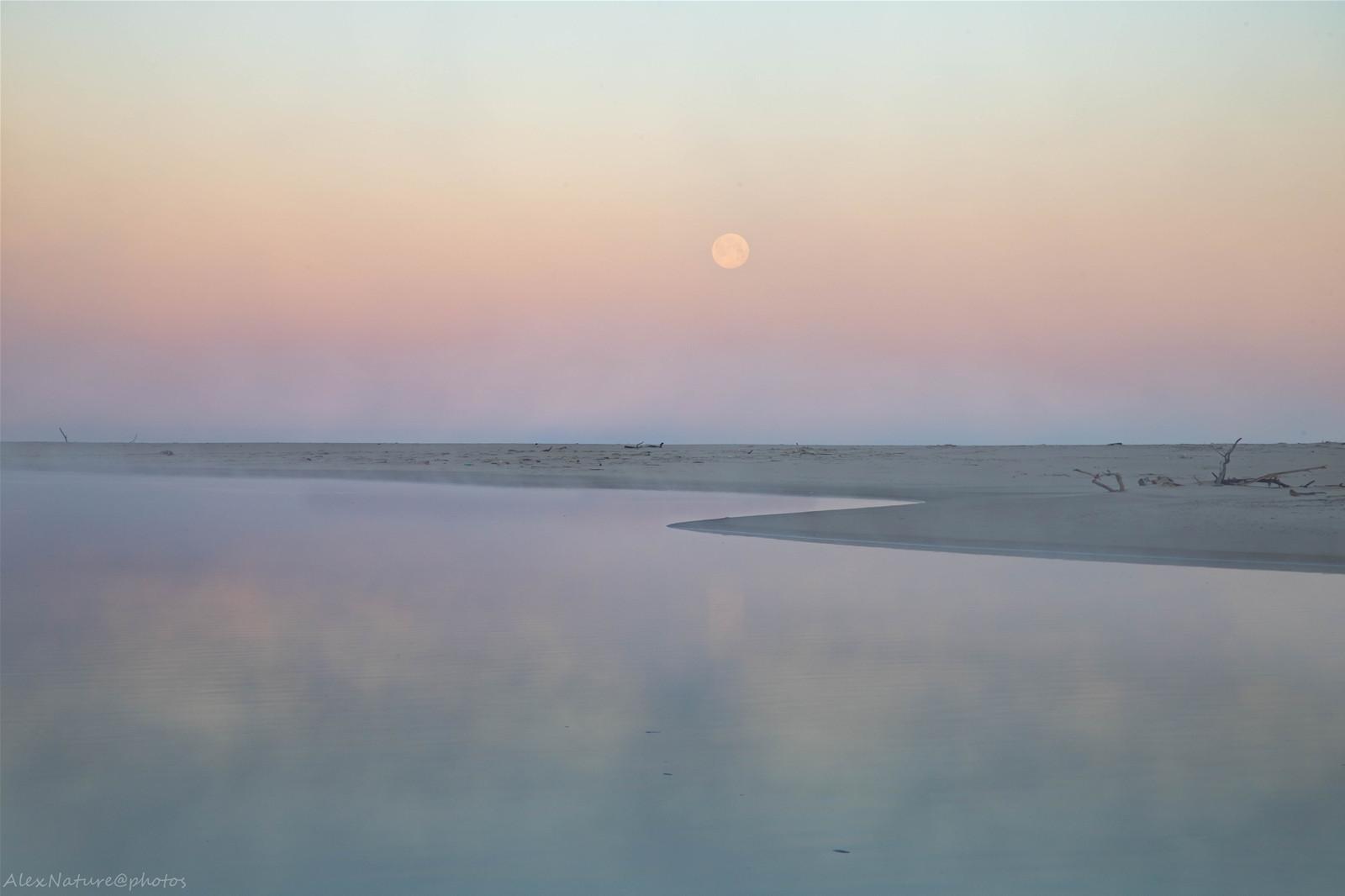 Pleine lune sur le courant du Huchet