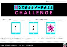 Screen Free Challenge Incentive Charts (