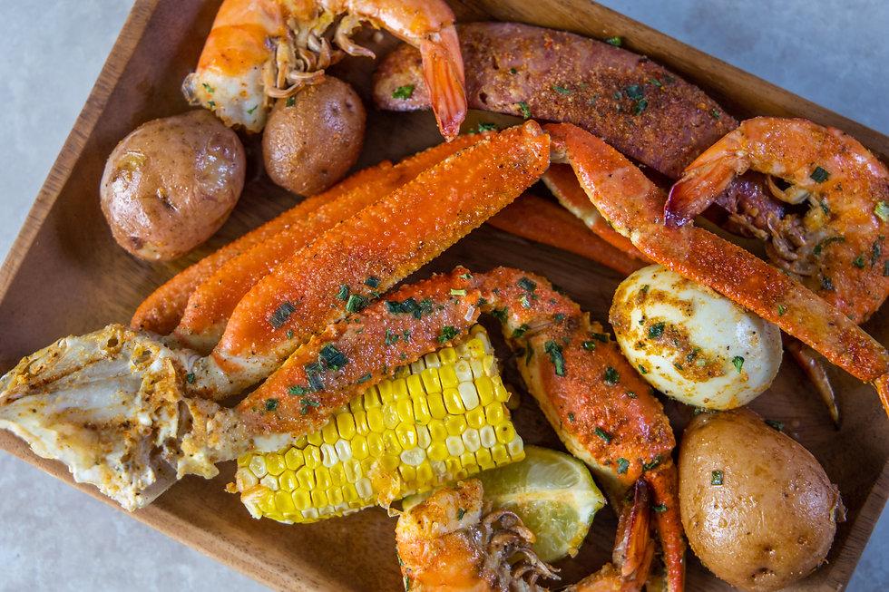 Platter of southern garlic crabs seafood