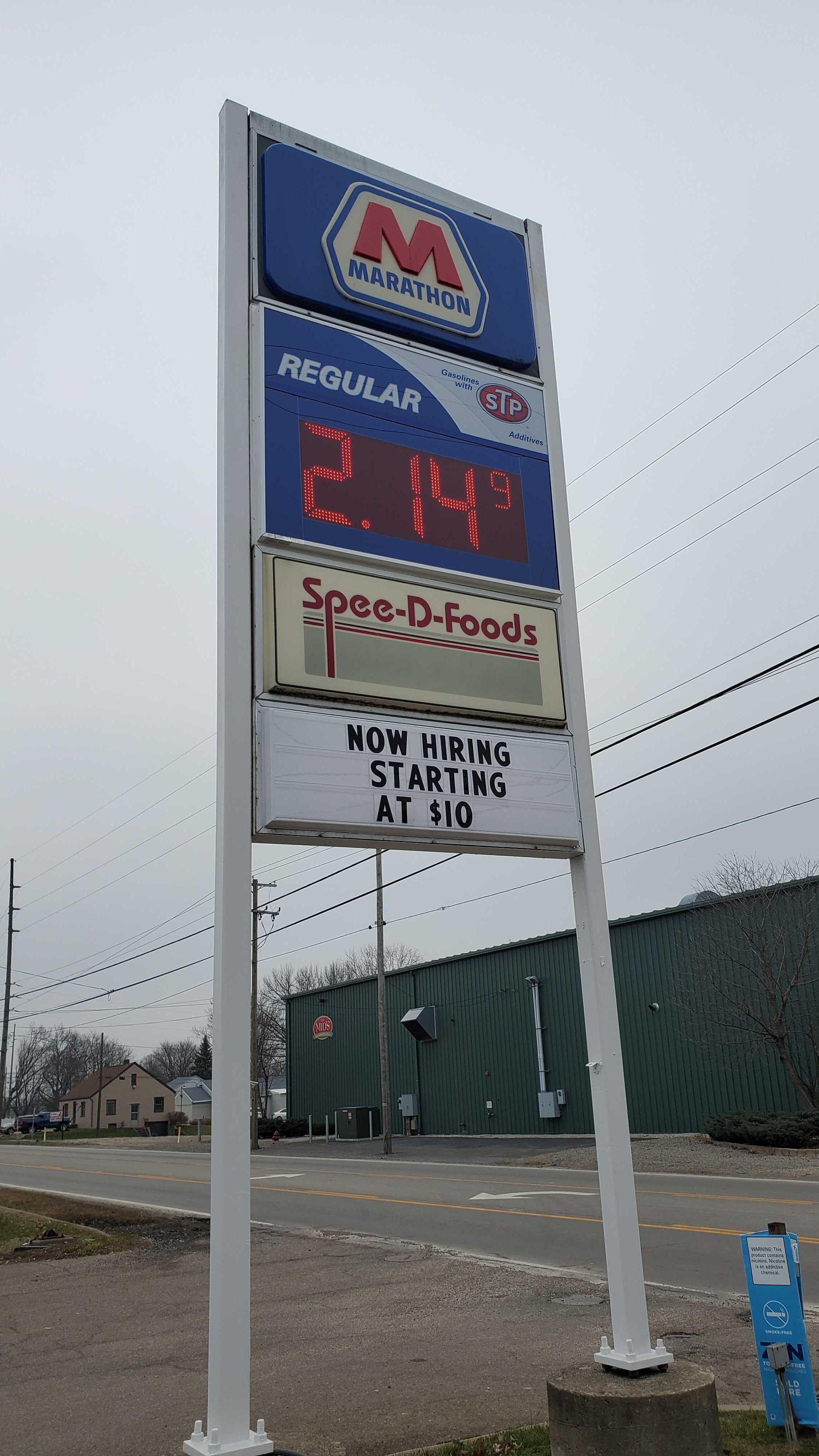 Marathon gas sign