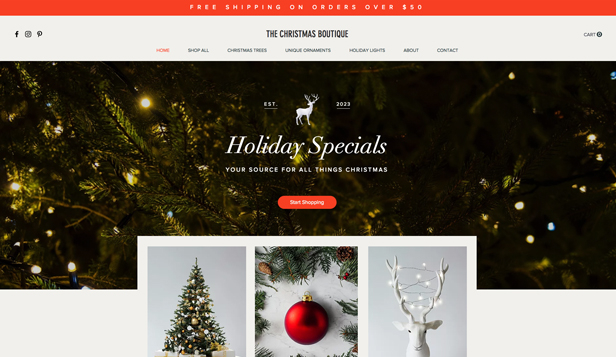 घर एवं सजावट website templates – Christmas Boutique