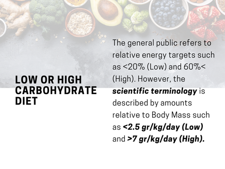 What is a low or high carbohydrate diet?