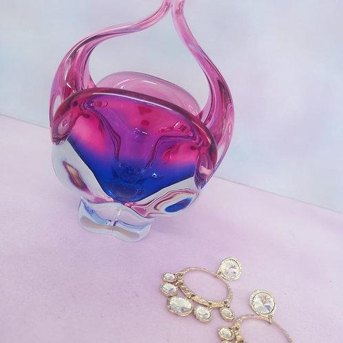 Czech Art Glass Trinket Dish