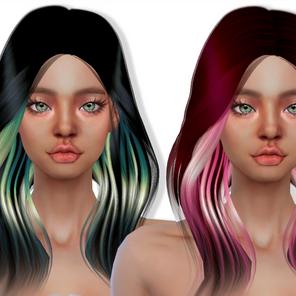 Download Sims 4 CC : Hair Accessories - 2TONE, Roots, Bangs Hair Dye