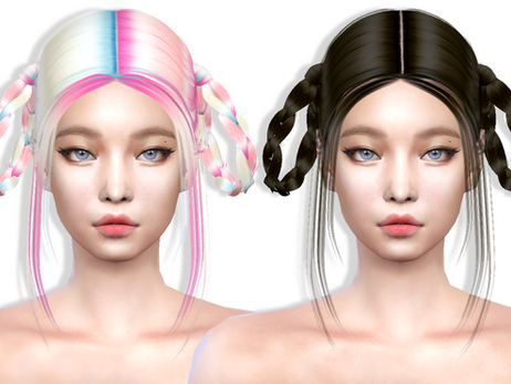Download Sims 4 CC : Jennie Hairstyle 011 + 2-tone Accessory