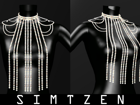 Sims 4 CC Download | Rhinestones Body Chain Accessory 02