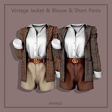 Vintage Jacket & Blouse & Short Pant