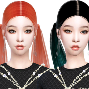 Download Sims 4 CC : Chungha 'Tonight' Hairstyle 008