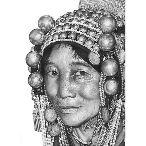Tribal head portrait of an Akha woman with full head dress on
