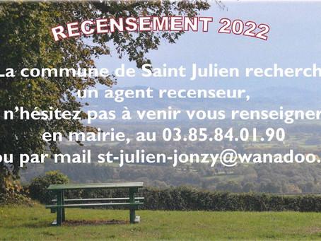 Recensement 2022 - cherche agent recenseur