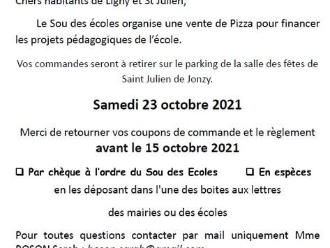 Vente de pizzas, 23 octobre, 18h30 - 20h30