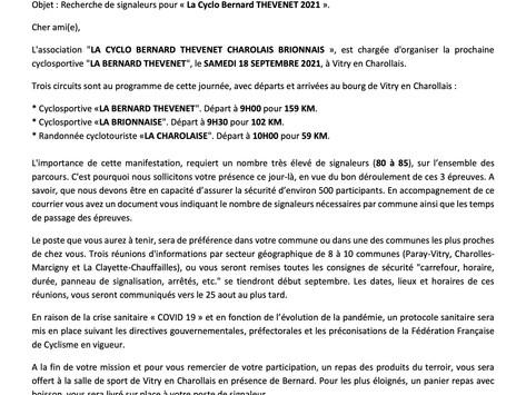 """Passage de la cyclosportive """"La Bernard THEVENET"""" sur votre commune"""