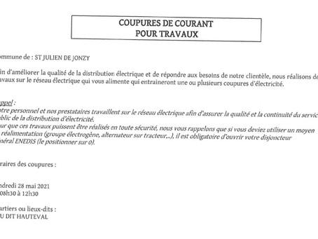 Coupures de courant, Hauteval, 28 mai, 8h30 - 12h30