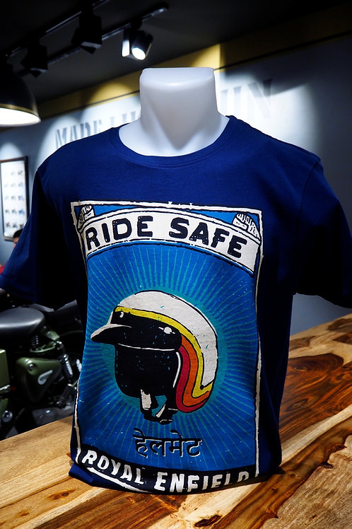 T SHIRT ROYAL ENFIELD RIDE SAFE BLEU