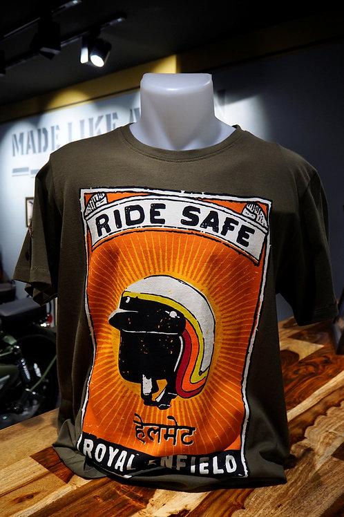 T SHIRT ROYAL ENFIELD RIDE SAFE KAKI