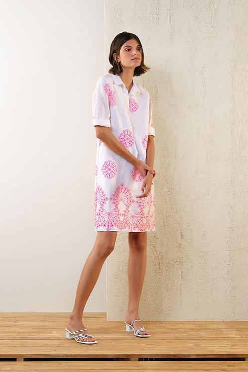 Kort wit kleedje met roze borduursel Atmos