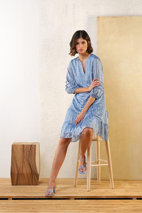 Kort lichtblauw kleedje met volants Atmos
