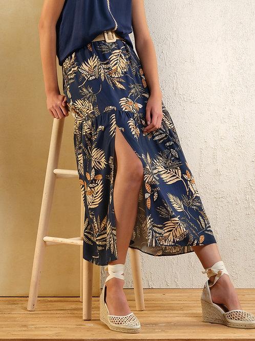 Lange donkerblauwe rok met dessin Atmos