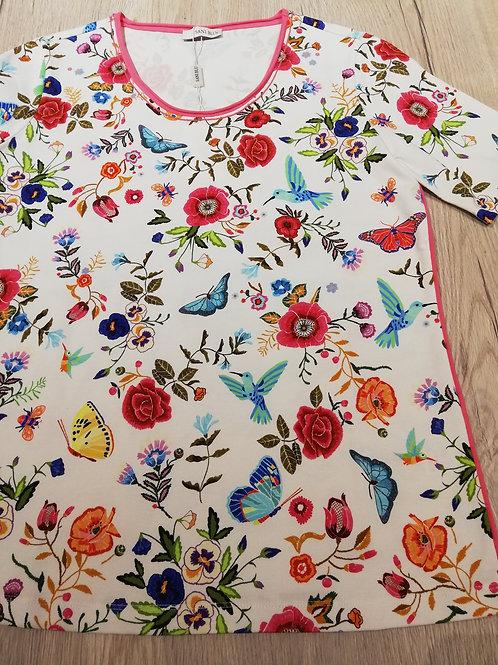 Sani Blu t-shirt roze bloem