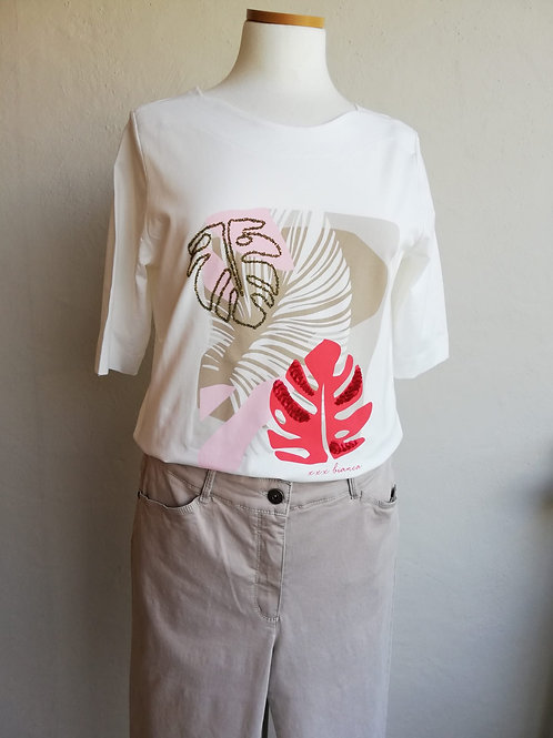 T-shirt wit dessin corail Bianca