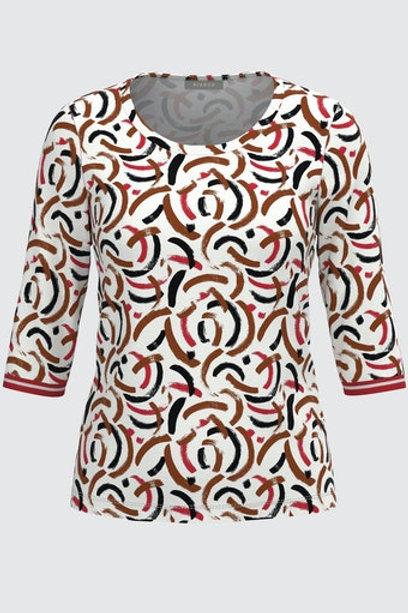 T-shirt dessin zwart rood bruin Bianca