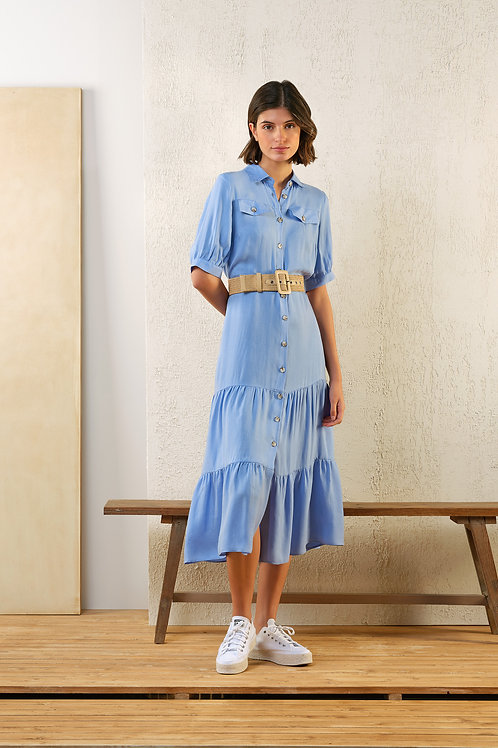 Lang lichtblauw kleedje Atmos