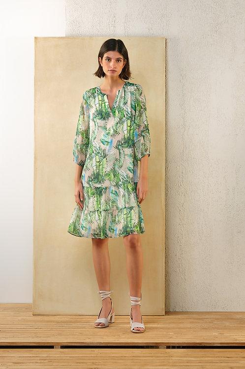 Kort groen kleedje met dessin Atmos