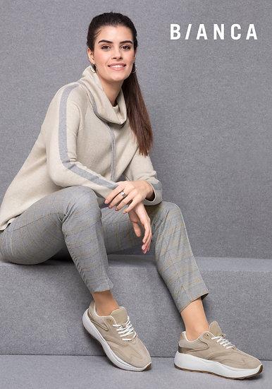 Bianca pull camel streep grijs 9