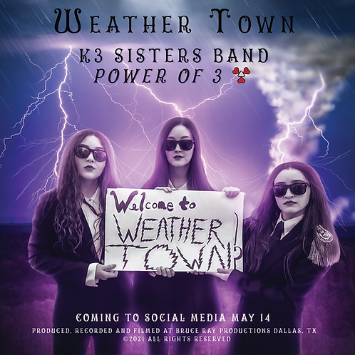 """""""Weather Town"""" K3SB Power of 3 Movie Poster 12"""" x 12"""""""