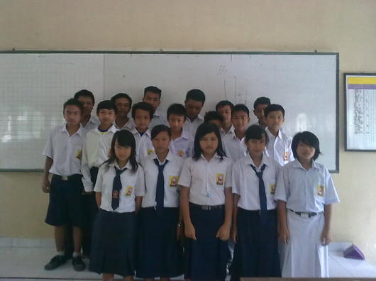 Class 8B Students at SMP2 Cangkringan after the eruption of Mt Merapi
